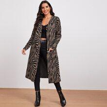 Mantel mit Taschen vorn und Zebra Streifen