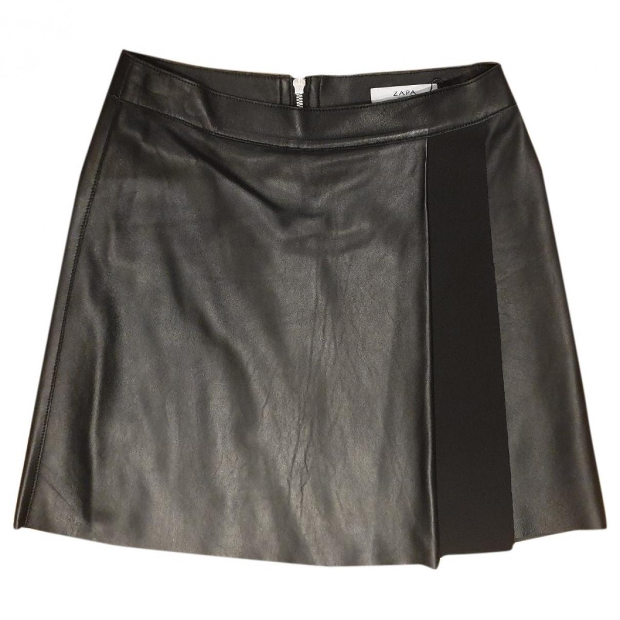 Zapa \N Kleid in  Schwarz Leder