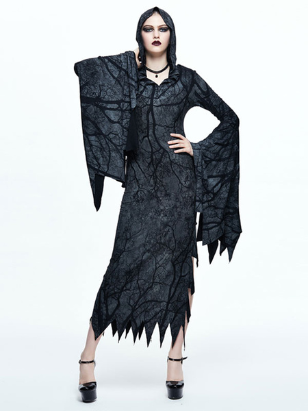Milanoo Women Gothic Dresses Halloween Costume Long Sleeve Split Hooded Dress