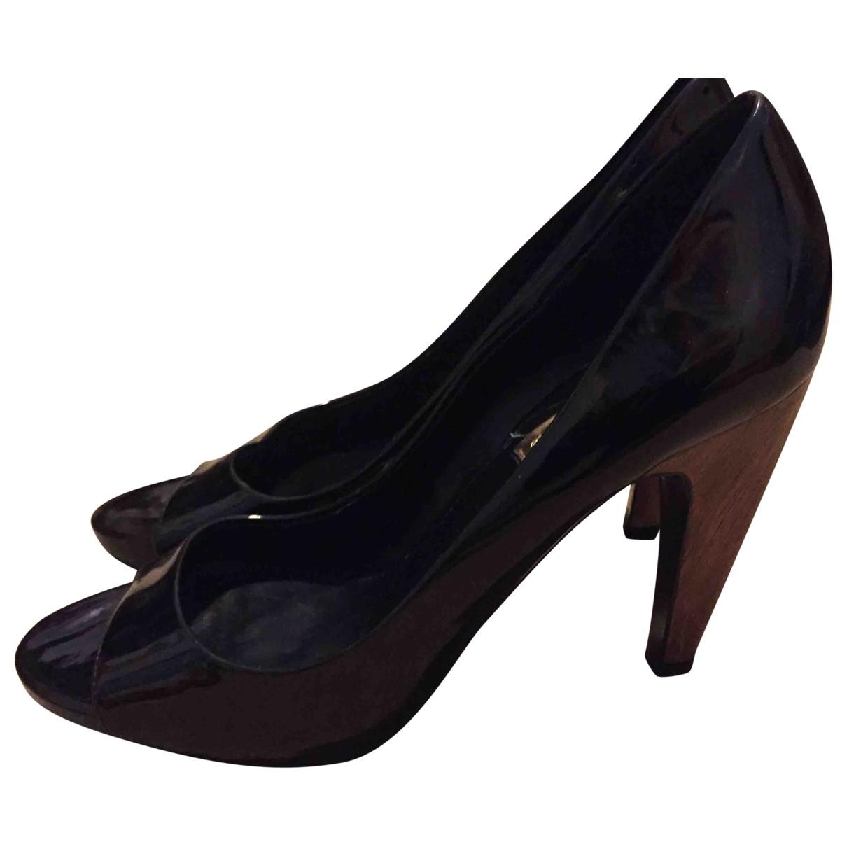 Zara - Escarpins   pour femme en cuir verni - noir