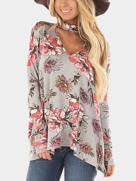 Yoins Grey Floral Print Halter Long Sleeves Blouse