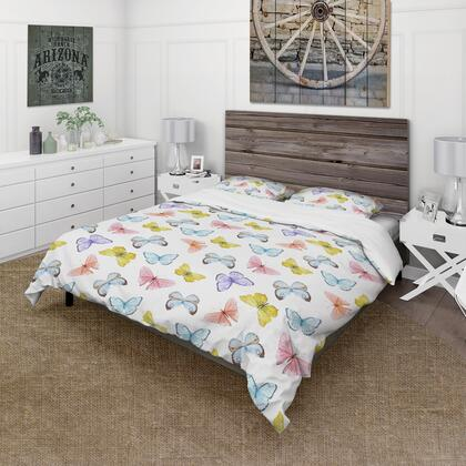 BED18937-Q Designart 'Watercolor Butterfly Pattern' Cabin & Lodge Duvet Cover