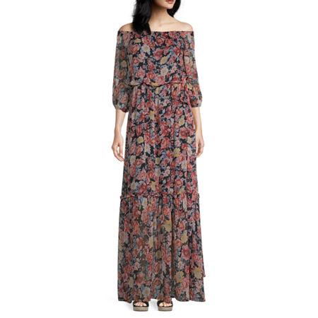 Premier Amour 3/4 Sleeve Floral Maxi Dress, 4 , Black