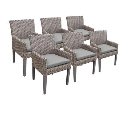 TKC297b-DC-3x-C-GREY 6 Oasis Dining Chairs With Arms with 2 Covers: Grey and