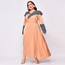 Plus Contrast Panel Ditsy Floral Dress