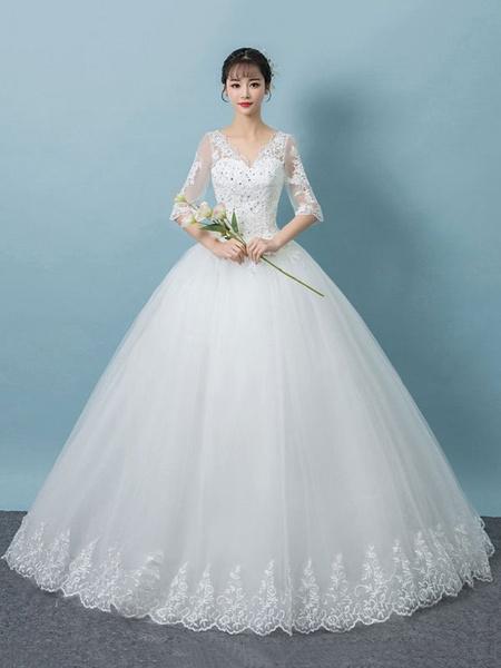 Milanoo Princess Wedding Dresses Lace V Neck Half Sleeve Backless Beaded Floor Length White Bridal Dress