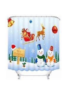 Snowmen Lovers and Santa Riding Reindeer Printing Bathroom 3D Shower Curtain