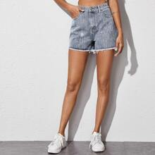 Shorts denim con diamante de imitacion bajo crudo
