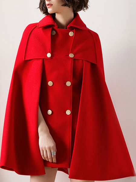 Milanoo Women Poncho Turndown Collar Red Poncho Oversized Buttons Cape