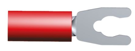 TE Connectivity PLASTI-GRIP Series Insulated Crimp Spade Connector, 0.26mm² to 1.65mm², 22AWG to 16AWG, M3.5 Stud Size, Red (100)