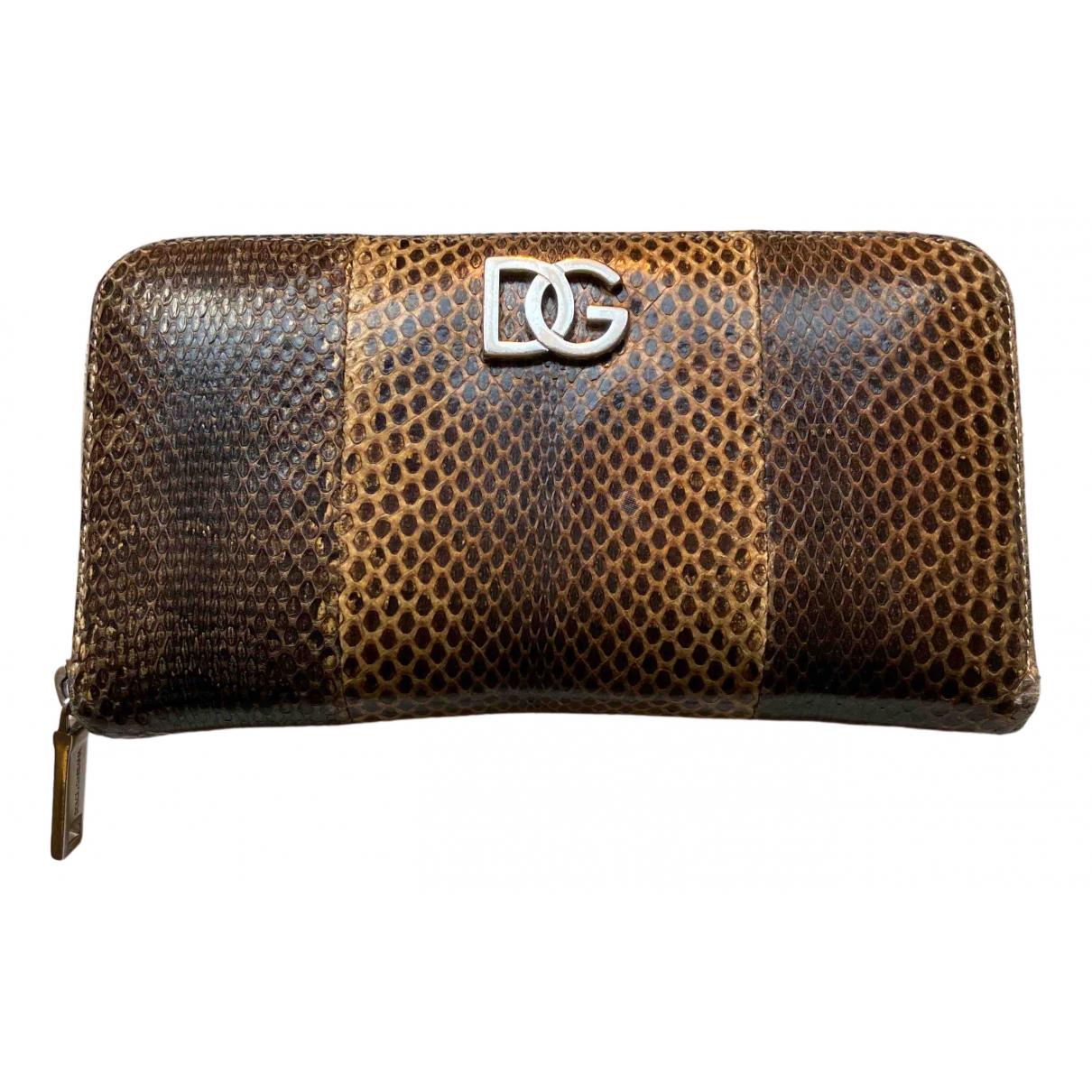 Dolce & Gabbana - Portefeuille   pour femme en python - marron