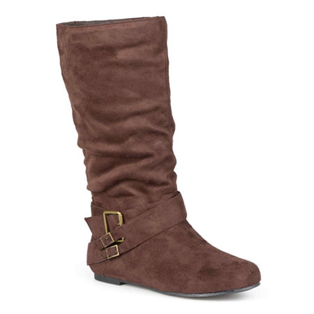 Journee Collection Womens Shelley Wide Calf Slouch Boots, 7 1/2 Medium, Brown