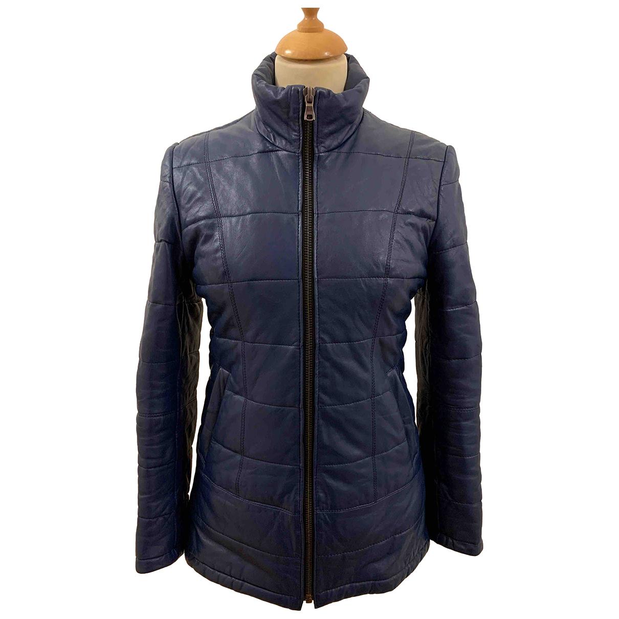 - Manteau   pour femme en cuir - bleu