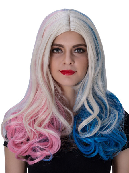 Milanoo Halloween Hair Wigs Carnival Women Wigs Suicide Squad Harley Quinn Cosplay Wig Long Curly Red Blue Centre Parting Hair Wigs