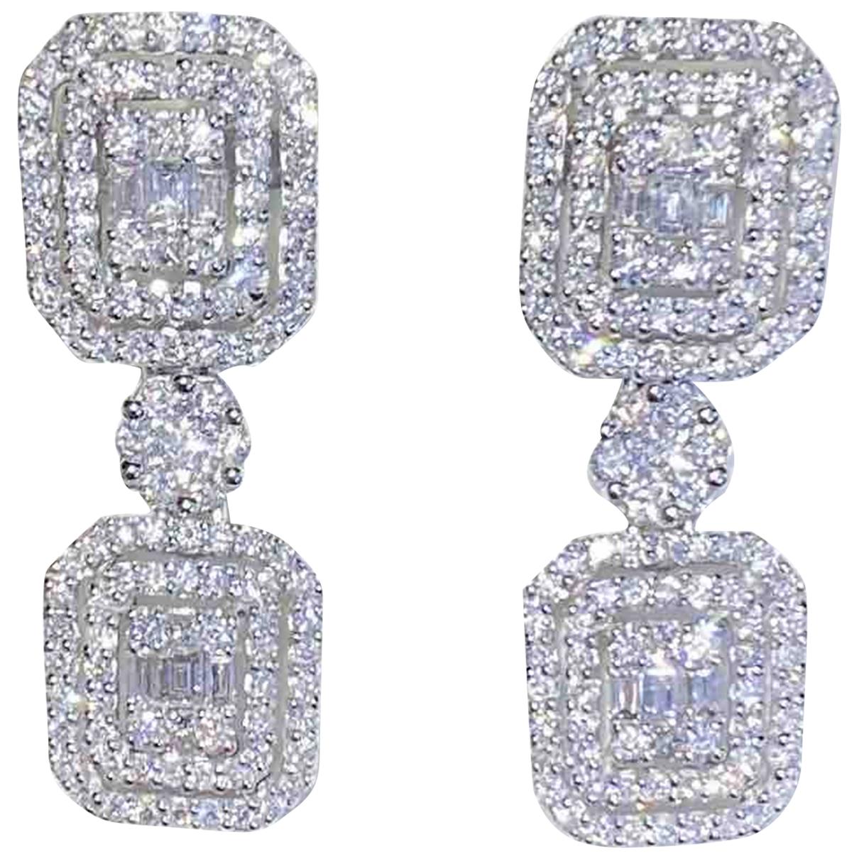 - Boucles doreilles   pour femme en or blanc - argente