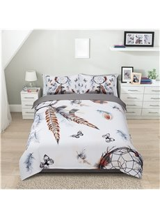 Feathers and Butterfly Dream Catcher Printing Polyester 4-Piece Polyester Bedding Sets/Duvet Cover