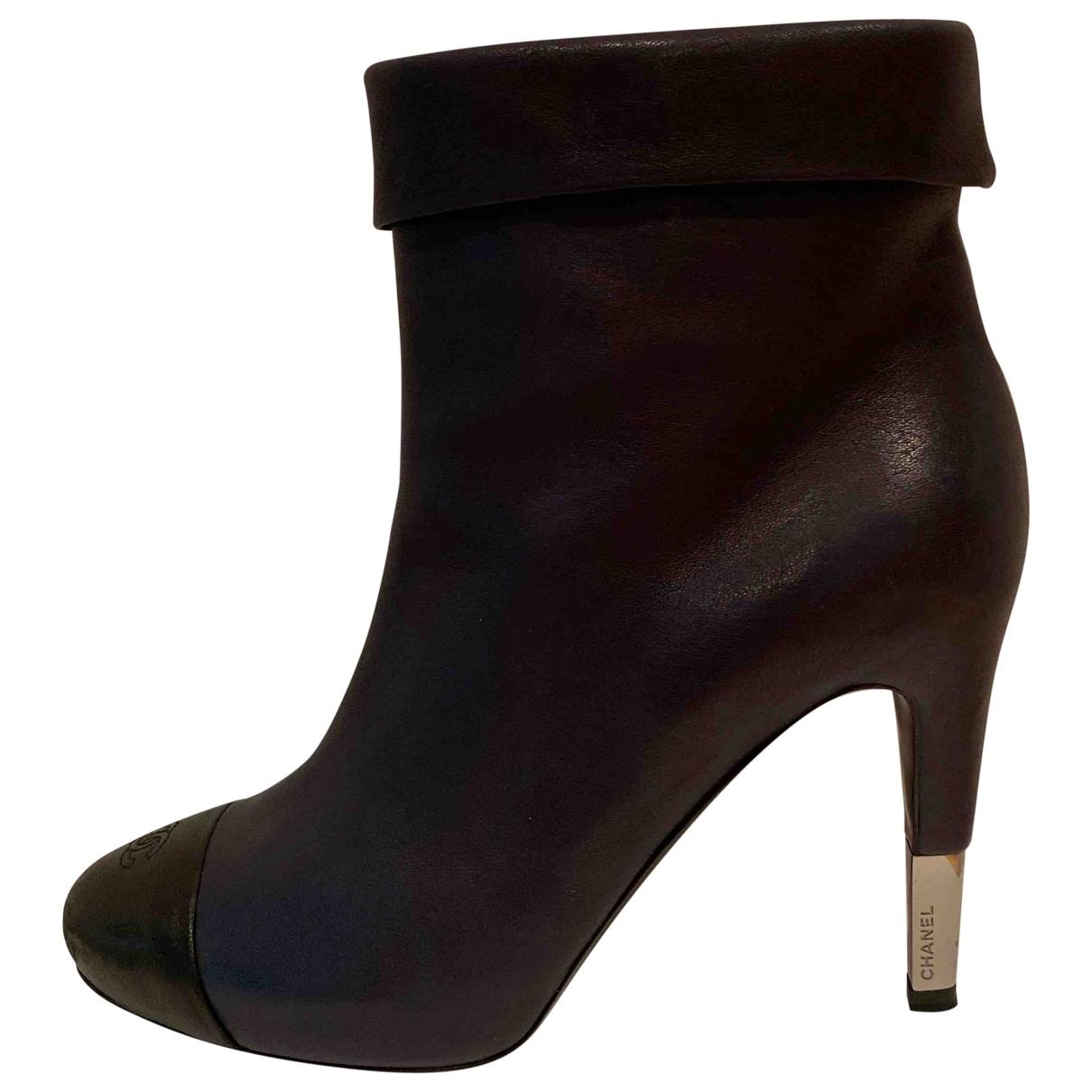 Chanel - Boots   pour femme en cuir - marine