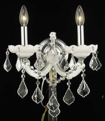 2800W2WH/SS 2800 Maria Theresa Collection Wall Sconce W12in H12in E8.5in Lt: 2 White Finish (Swarovski Strass/Elements