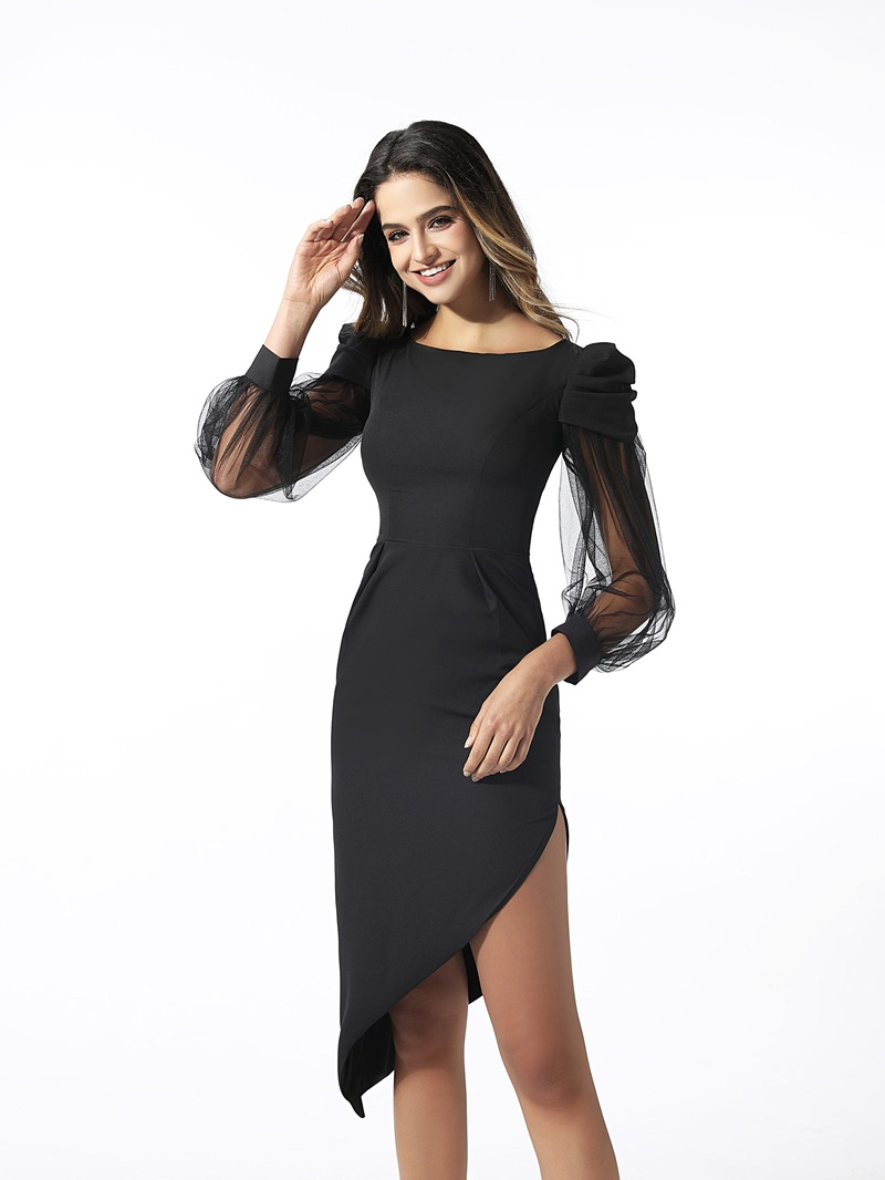 Ericdress Seath Asymmetry Long Sleeves Cocktail Dress 2020