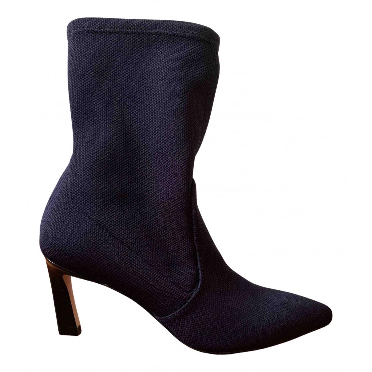 Stuart Weitzman N Navy Cloth Boots for Women 34.5 EU