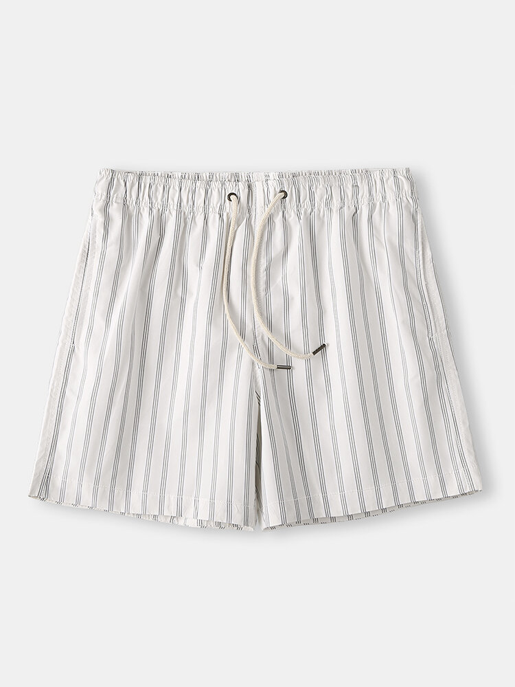 Cozy Stripe Loungewear Shorts Drawstring Quick Drying Loose Mini Shorts for Men