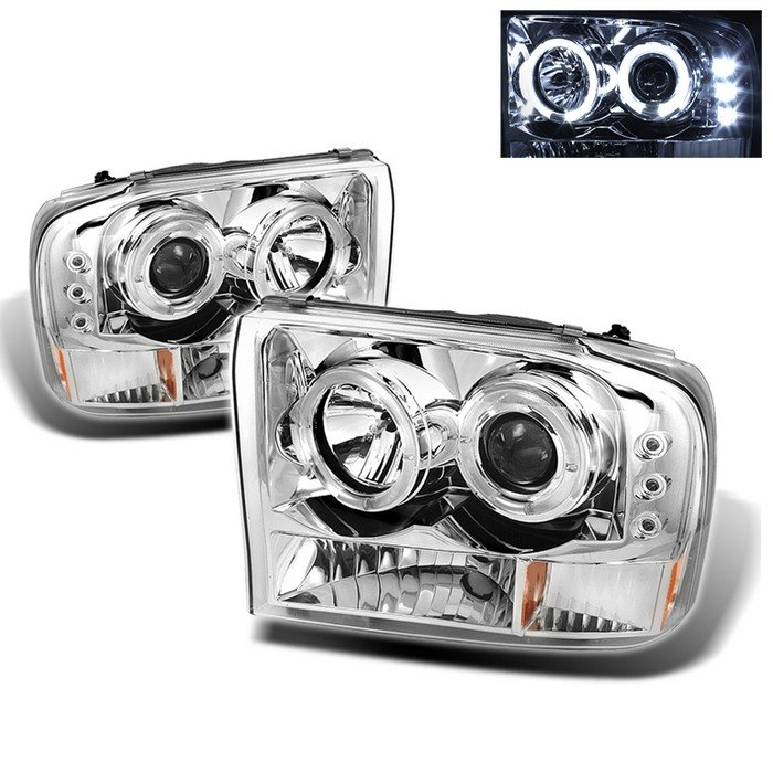 Spyder 1Pc Dual Halo LED Chrome Projector HeadLights G2 Version Ford F250 Super Duty 99-04