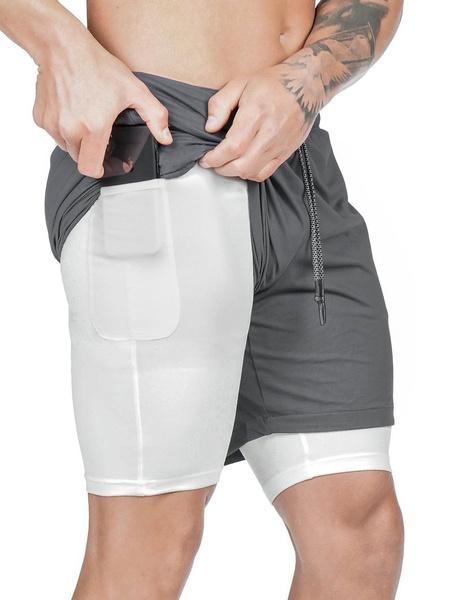 Milanoo Pantalones cortos de entrenamiento para hombres Pantalones cortos deportivos de entrenamiento de gimnasia livianos con cordon 2 en 1