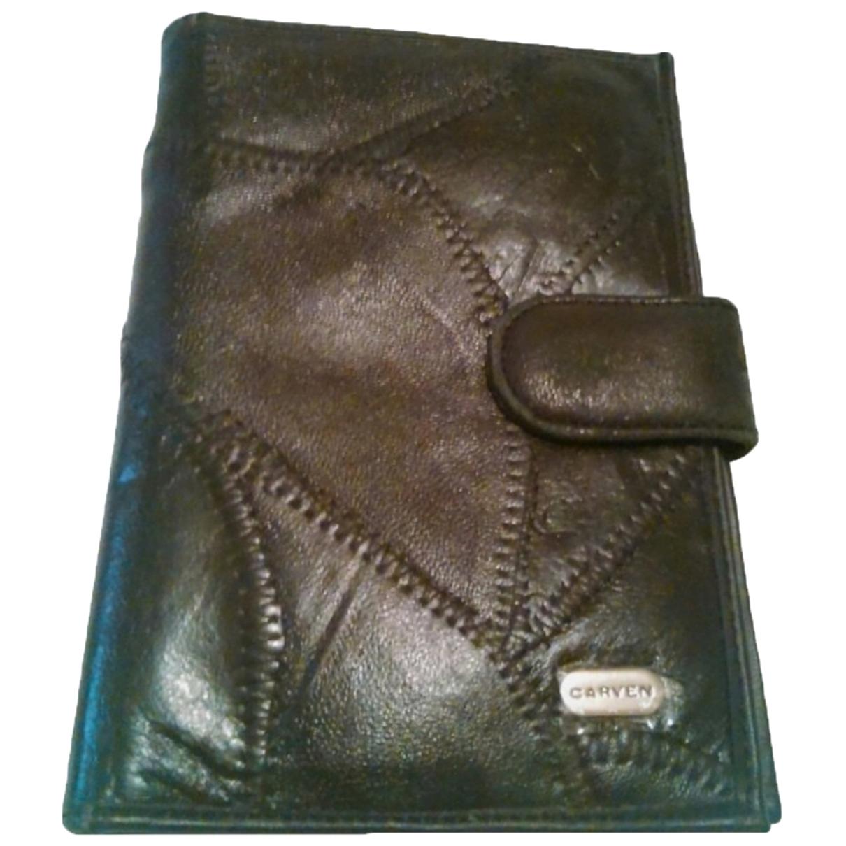 Carven \N Portemonnaie in  Schwarz Leder