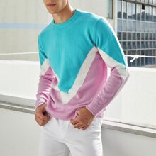 Guys Colorblock Chevron Sweater