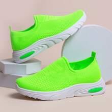 Neon Lime Slip On Sneakers