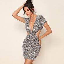 Plunging Neck Cut Out Leopard Dress