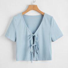 Tie Front Blue Crop Top