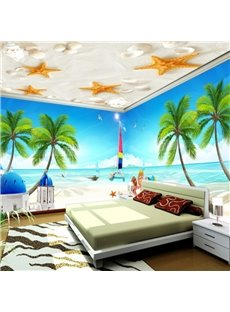 Natural Starfishes Prints Sandbeach Ceiling Murals and Palm Tree Seaside Scenery 3D Wall Murals
