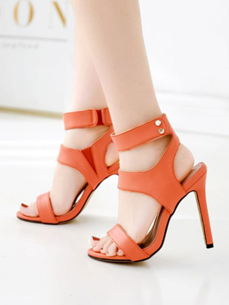 Milanoo High Heel Sandals Yellow Open Toe PU Leather Ankle Strap Sandal Shoes