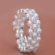 Faux Pearl & Rhinestone Decor Bracelet