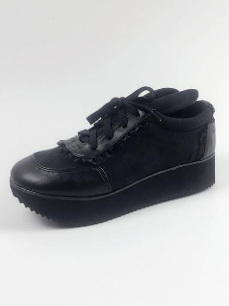 Milanoo Black Lolita Shoes Round Toe Geometric Heel Lace Up PU Lolita Shoes