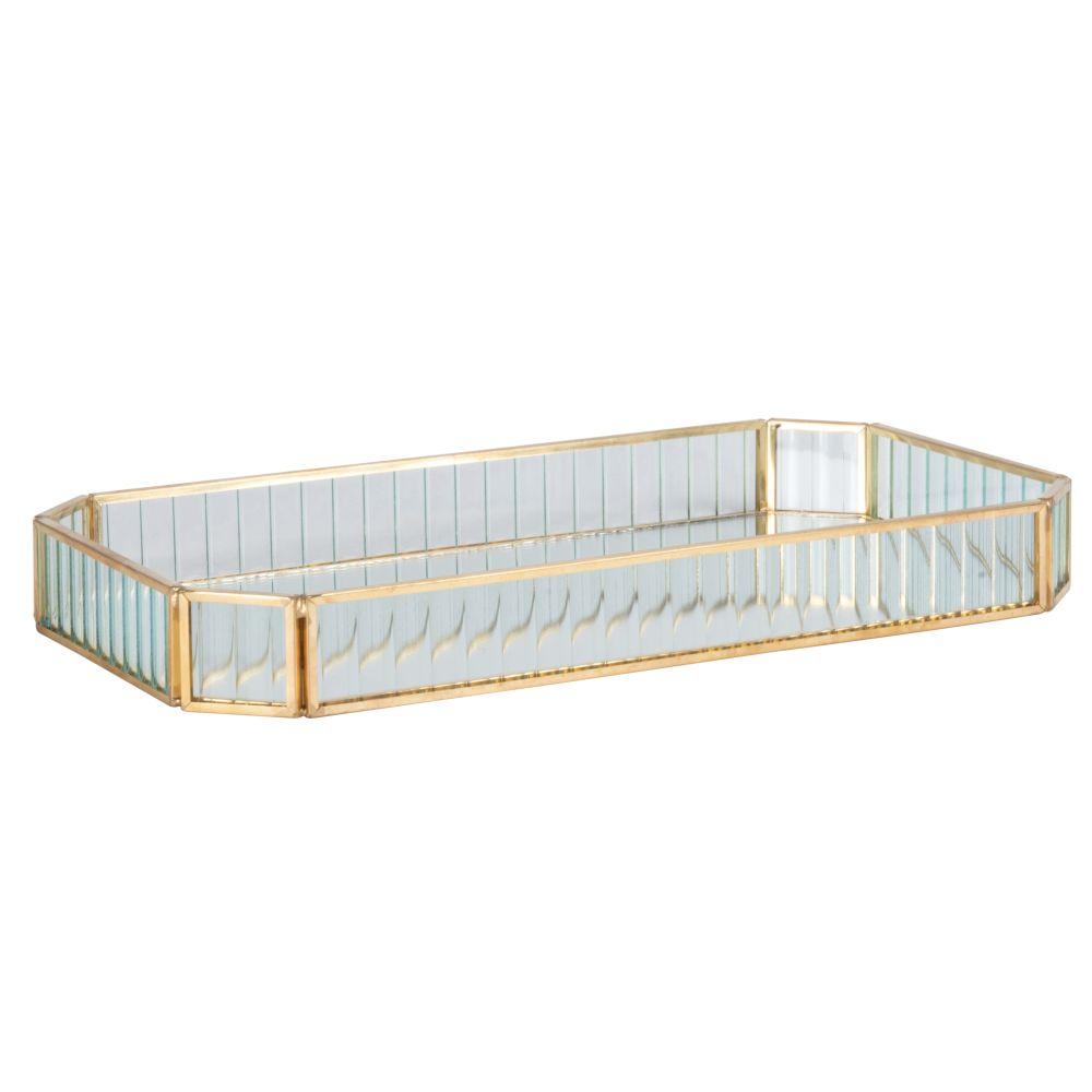 Tablett aus Glas und goldenem Metall L31