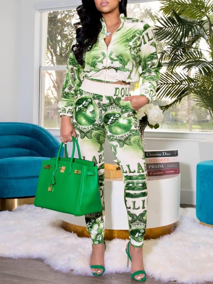 LW Lovely Trendy Print Zipper Design Green Two Piece Pants Set