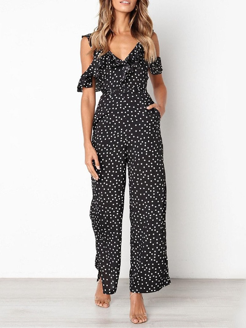 Ericdress Print Ankle Polka Dots Length High Waist Loose Jumpsuit