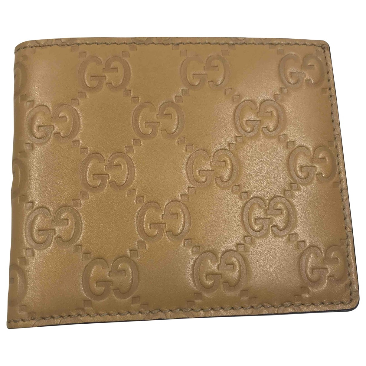 Gucci \N Beige Leather Small bag, wallet & cases for Men \N