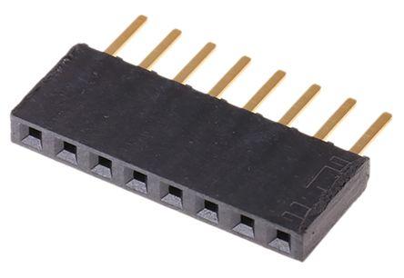 Samtec , SSW 2.54mm Pitch 8 Way 1 Row Straight PCB Socket, Through Hole, Solder Termination