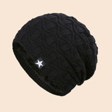 Men Star Patched Knit Beanie