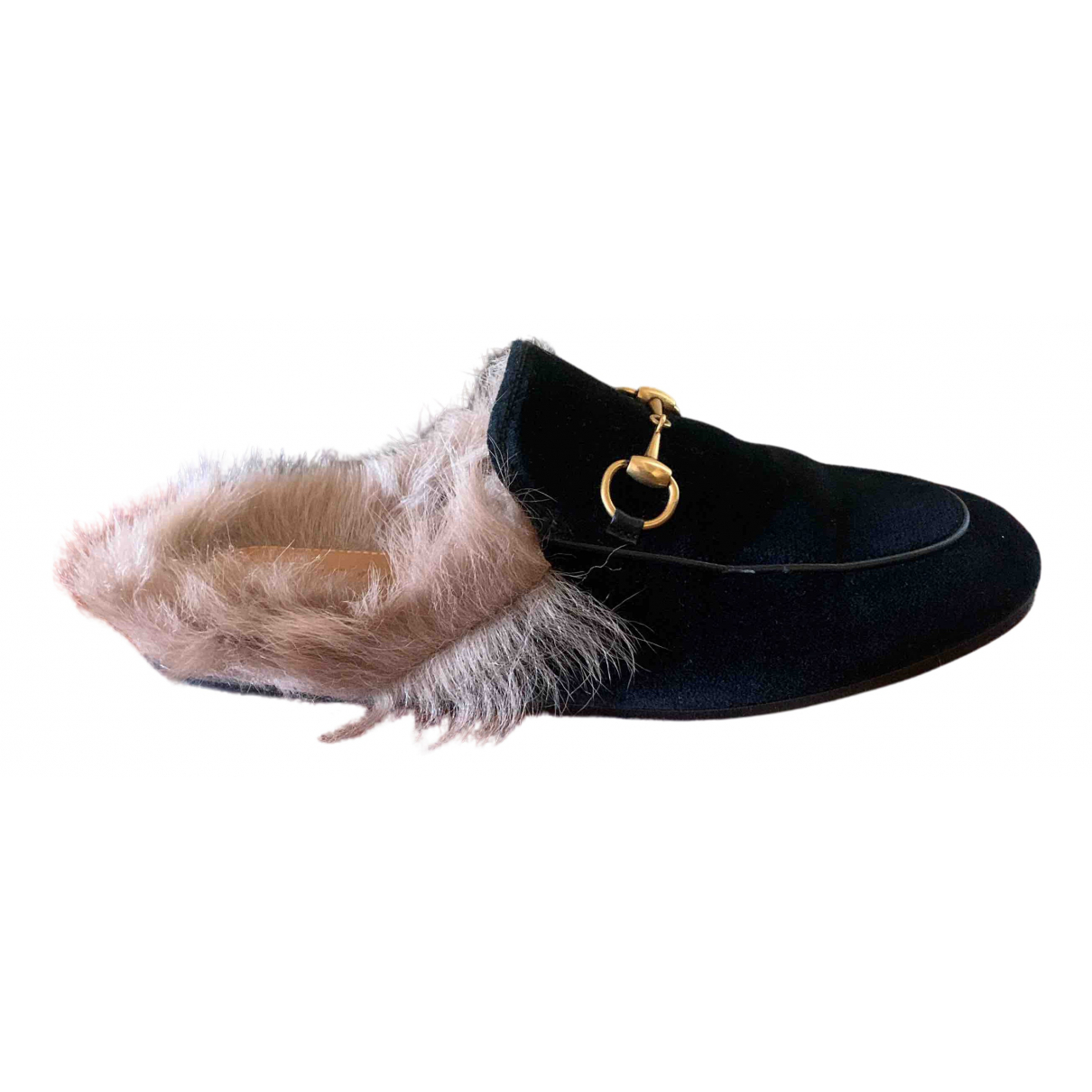 Gucci Princetown Black Velvet Flats for Women 35 EU