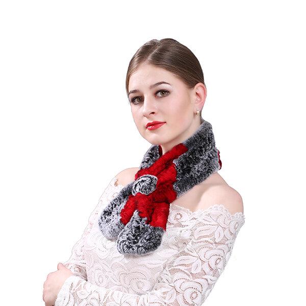 Womens Russian Beaver Rabbit Hair Muti-color Scarf Warm Fashion Scarves