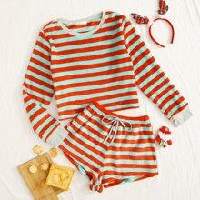 Stripe Tie Front Fluffy PJ Set