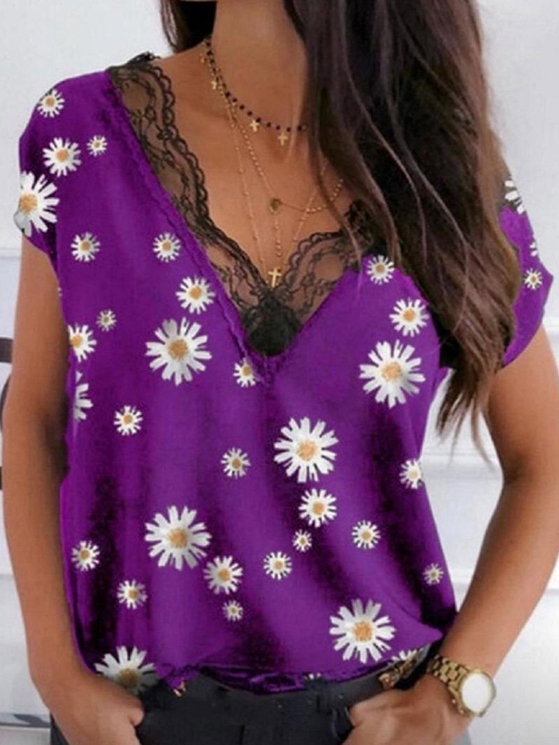 Ericdress V-Neck Floral Standard Office Lady Slim T-Shirt