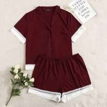 Plus Notched Collar Lace Trim Blouse & Shorts PJ Set