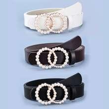 3pcs Faux Pearl Ring Buckle Belt
