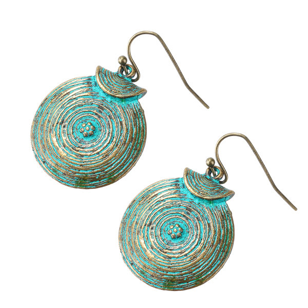 Vintage Women Round Growth Ring Pendant Drop Earrings Gift for Her