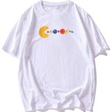 T-Shirt mit Planet Muster und rundem Kragen